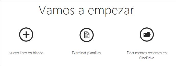 Pantalla de inicio de Excel online gratis