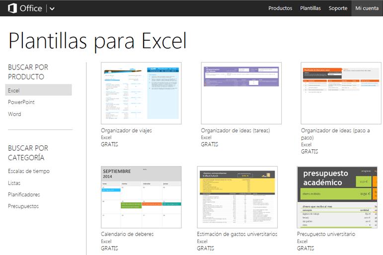 Plantillas predeterminadas de Excel Online