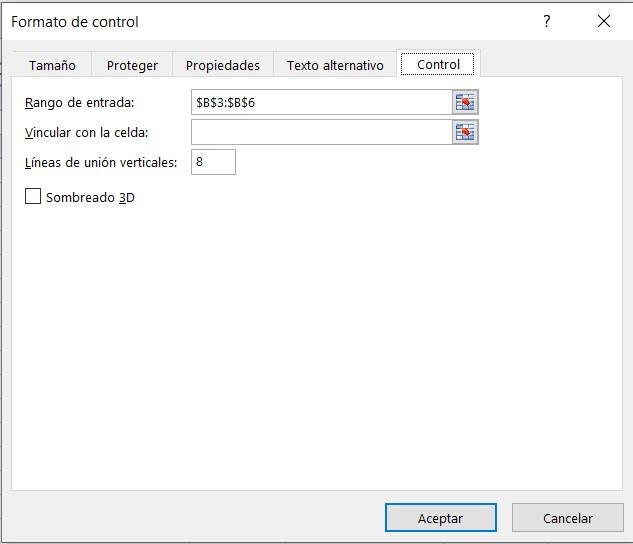 Formato de control de Excel