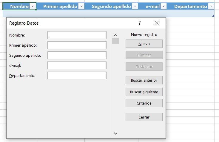Registro de datos para el formulario con Excel