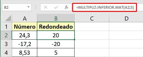 La función MULTIPLO.INFERIOR.MAT seleccionando el múltiplo de 5.