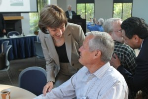 CDFA Secretary Karen Ross and State Board of Food and Agriculture member Don Cameron share a moment at the Soil Health Symposium on June 17 at UC Davis. Photo credit - Kate Campbell, California Farm Bureau Federation.