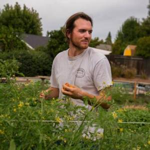 UC Berkeley philosophy graduate Tyler Stowers farms in his parents' yard in Roseville while working to reduce his college debt. Photo by Jose Luis Villegas, Sacramento Bee