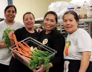 Members of the Lodi Unified School District's nutrition services team at Delta Sierra Middle School in Stockton