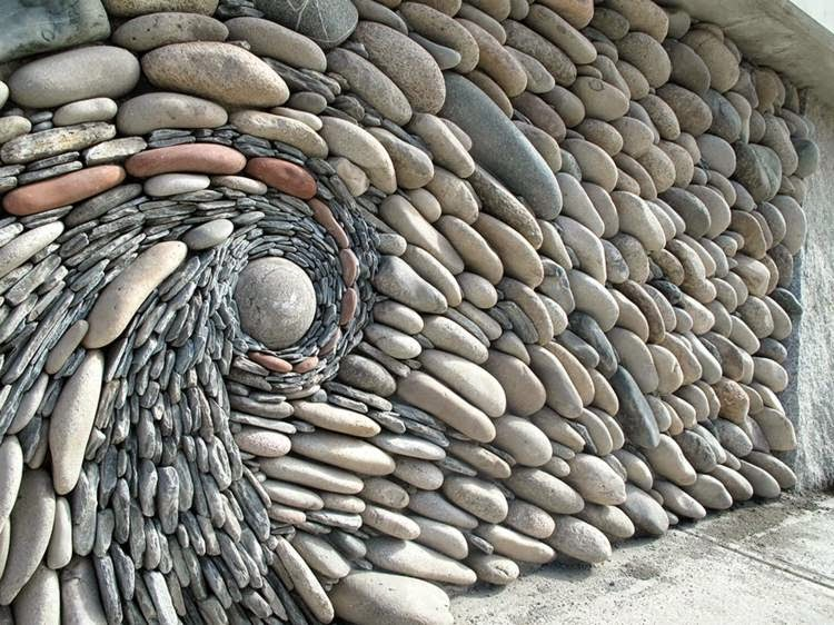 stone wall created in shape of wave