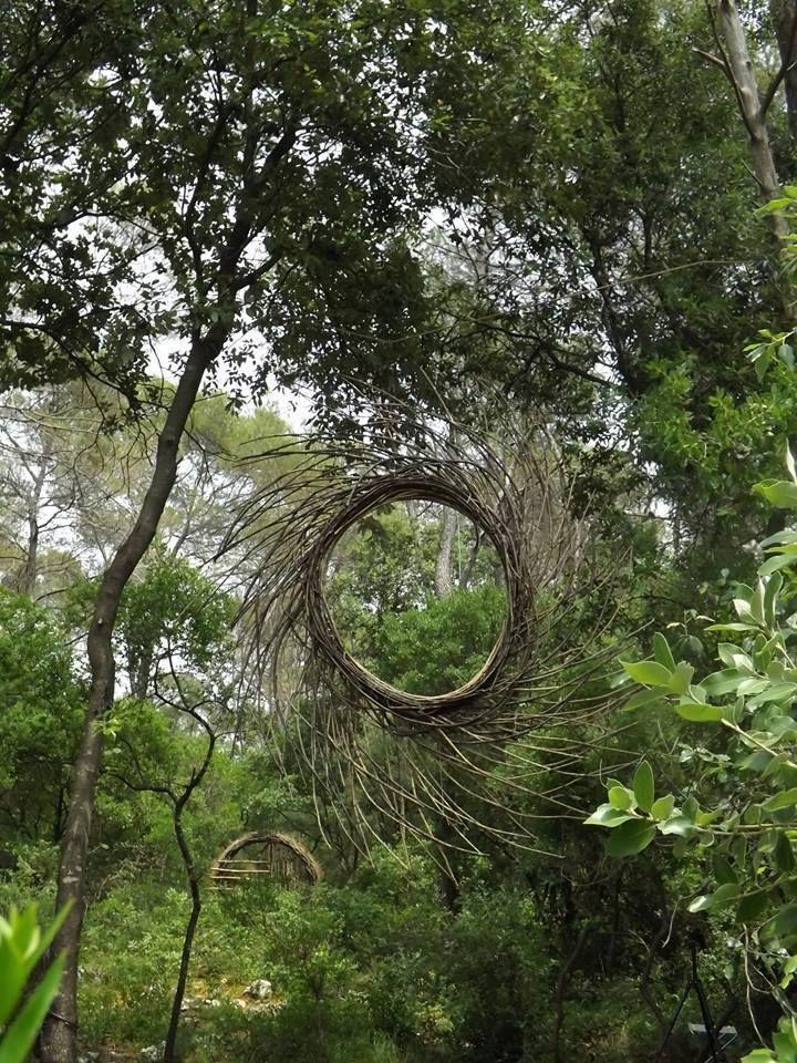 natural twig pinwheel sculpture