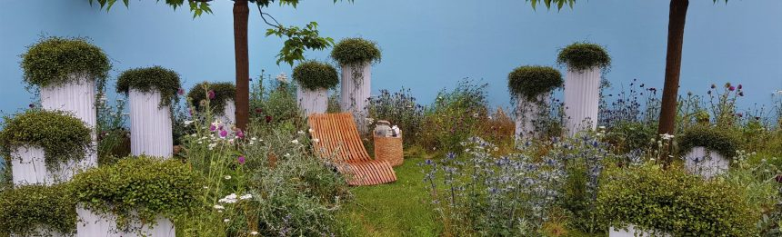 Hampton court show garden 2021 with wild lawn and no formal borders. garden planning tips family gardens