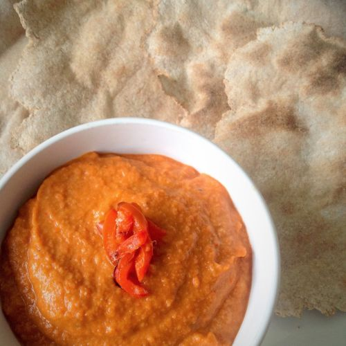 Roasted Red Pepper Hummus - Healthy, Gluten-Free, Oil-Free, Plant-Based, Nut-Free Vegan Dip Recipe from Plants-Rule
