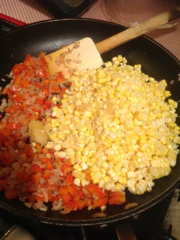 This dish is a celebration of summer's flavors: sweet corn, bell pepper, shallot, and fresh herbs