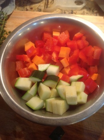 Chef's Chopping Tip: For chunky soup, you want to chunks to be small enough to fit on a spoon, but big enough to have some texture