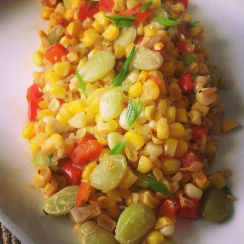 Sweet Summer Corn Succotash - Healthy, Gluten-Free, Oil-Free, Plant-Based, Vegan Recipe