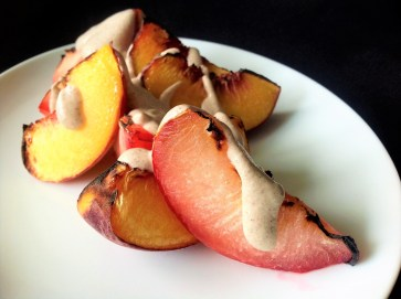 Vegan Cinnamon Cashew Cream with Broiled Peaches and Plums - Healthy, Gluten-Free, Dairy-Free, Oil-Free, Plant-Based Recipe