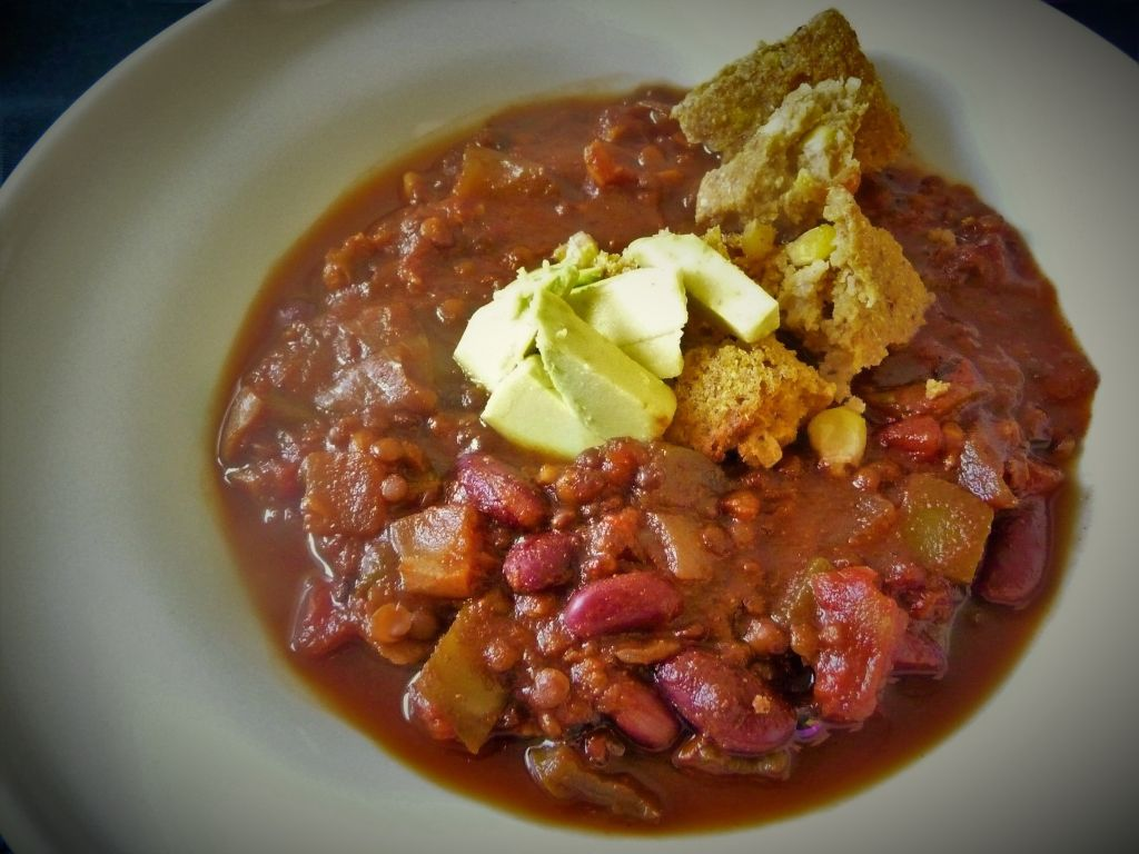 Hearty Belgua Lentil Vegan Chili- Healthy, Hearty, Plant-Based, Oil-Free, Gluten-Free, Comfort Food Soup, Stew Recipe from Plants-Rule