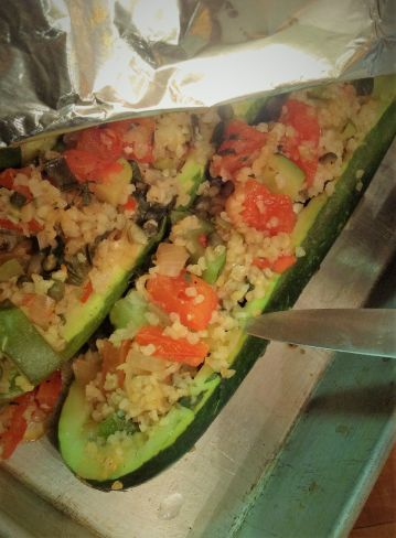 Cook the zucchini until a knife easily glides in and out.