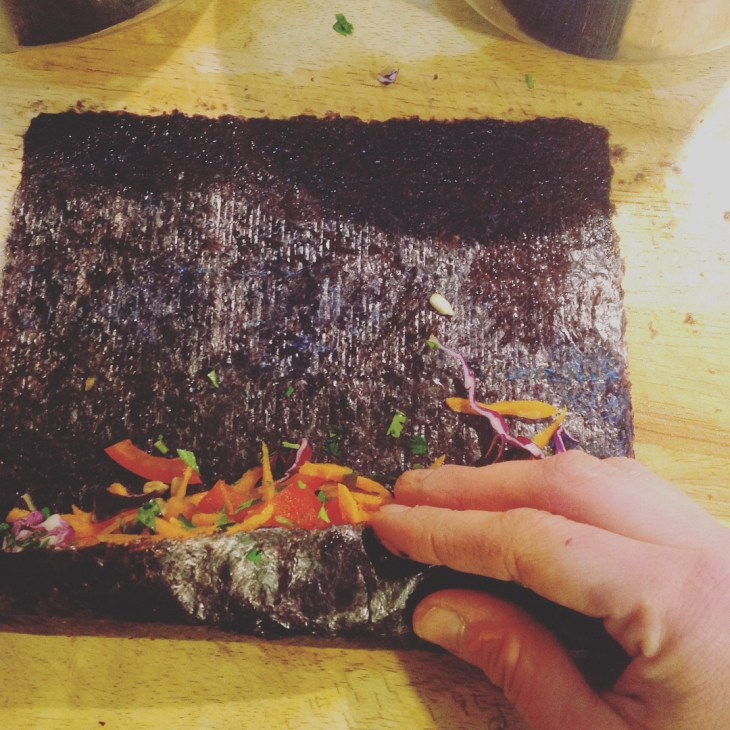 Chef's Nori Rolling Tip: Roll the Nori sheet as tightly as you can around your filling. This will help prevent the filling from falling out.
