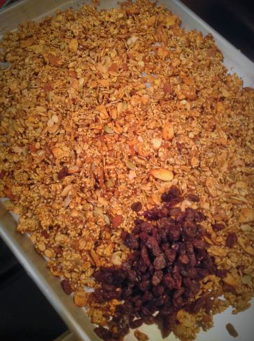 Add the raisins after the granola has baked. If you add them sooner, they will burn