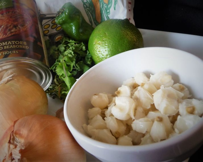 Hominy looks like puffed up corn kernels. Be sure to buy canned hominy, which has already been cooked.