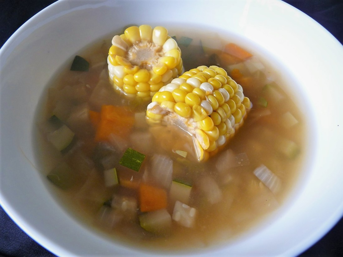 Light Peruvian Summer Vegetable Corn on the Cob Soup - Healthy, Plant-Based, Gluten-Free, Oil-Free, Vegan Soup Recipe