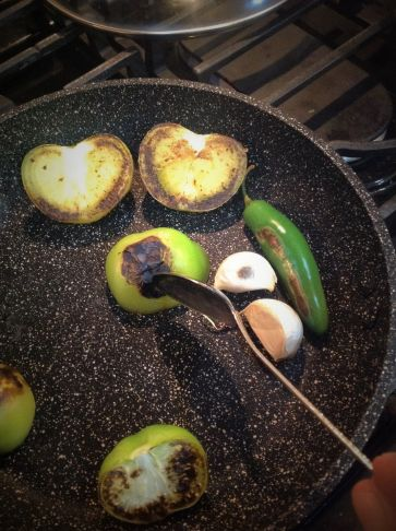Chef's Tip for Flavor: Char the tomatillos, serrano pepper, and garlic in a hot, dry pan a few minutes. Use a dark, cast-iron pan for deeper, richer flavor...and to prevent the ingredients from sticking to pan. No oil needed!