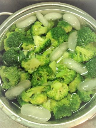 You can blanch your own broccoli florets, but frozen saves you time (and a few pots) for this recipe