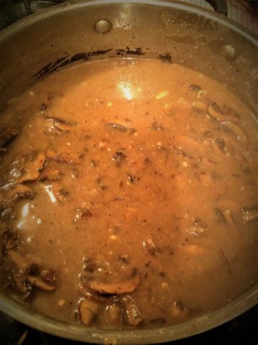 Simmer this vegan gravy for 10 minutes, until warm and bubbly