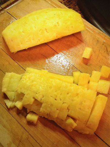 Dice pineapple into bite-sized pieces to use in salsa, add to guacamole, or sprinkle over creamy chia pudding