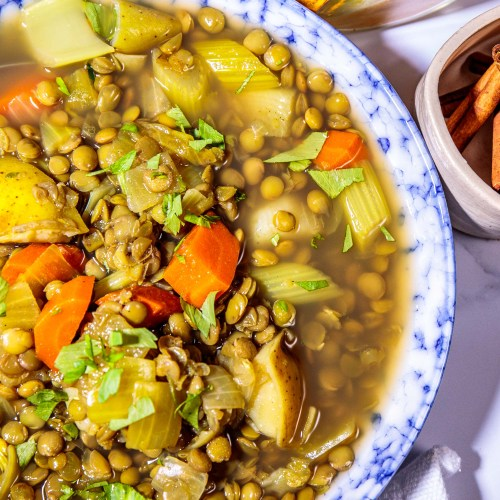 1 Middle Eastern Green Lentil Stew with Potatoes - Healthy, Plant-based, Oil-Free, Gluten-Free Hearty Vegan Soup Dinner Recipe from Plants-Rule