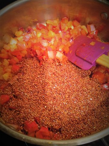 Red Quinoa creates the base for the filling in these vegan enchiladas