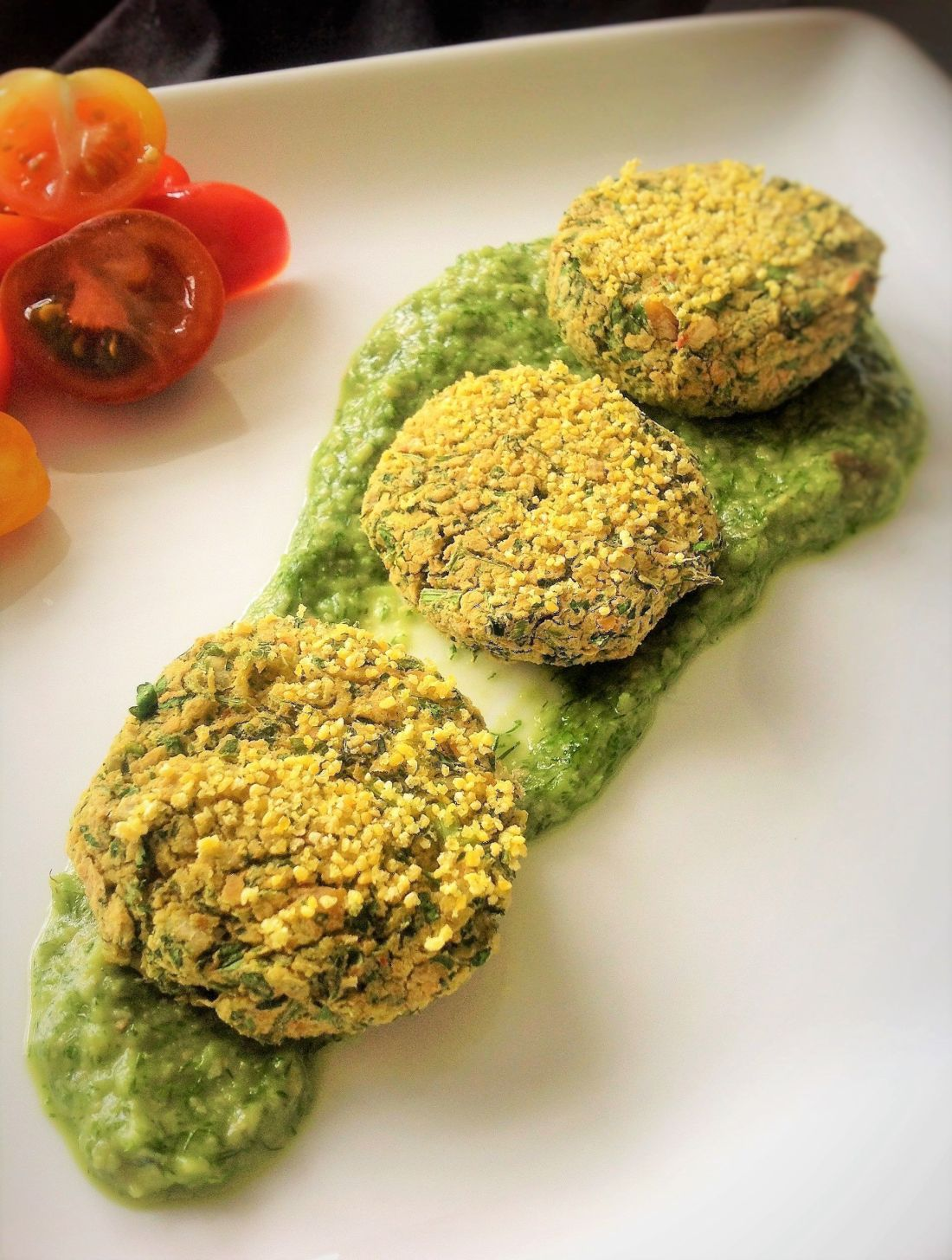 Baked Green Chickpea Falafel Bites - Healthy, Gluten-Free, Oil-Free, Plant-Based, Middle Eastern Vegan Recipe