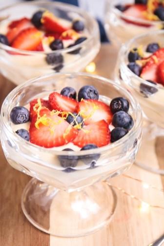 Vegan Tofu Lemon Curd with Berries - Healthy, Plant-Based, Gluten-Free, Dairy-Free, Oil-Free, Summer Dessert Recipe