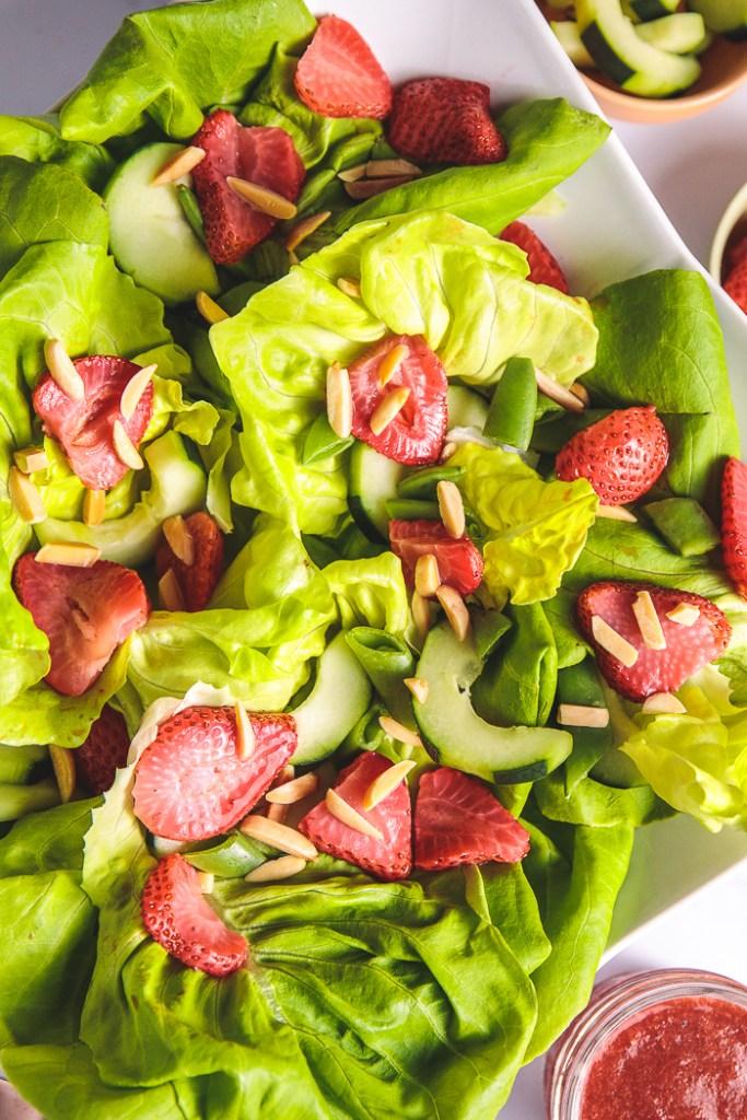 Plants-Rule Boston Bibb Salad Recipe with Almonds Roasted Strawberries Oil-Free Dressing