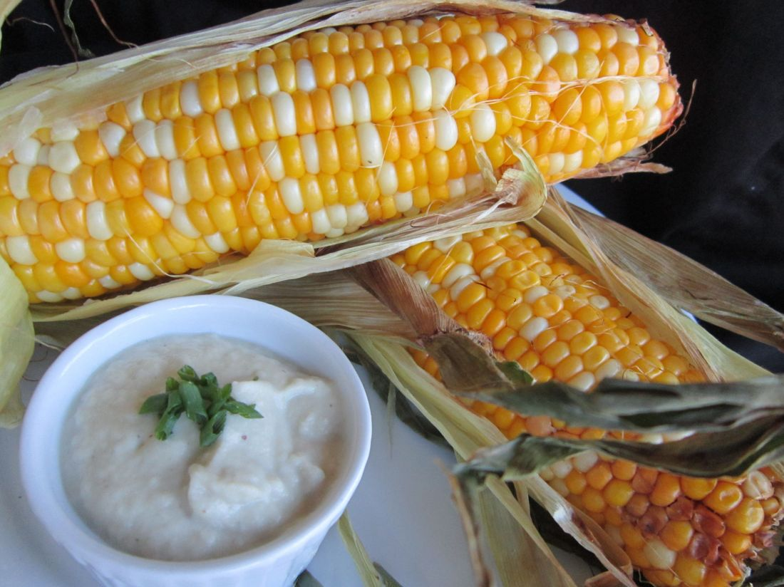 "Roasted Corn with Garlic Shallot Plant-Based ""Buttah"": Vegan Butter Substitute - Oil-Free, Gluten-Free, Sauce, Dip, Condiment Recipe"