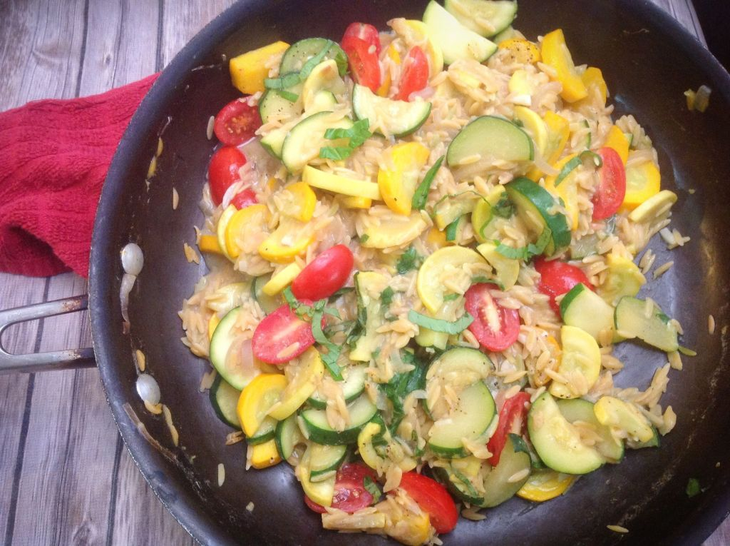 Summer Squash Farmer's Market Legume Rice Risotto - Healthy, Plant-Based, Oil-Free, Gluten-Free Vegan Dinner Recipe from Plants-Rule