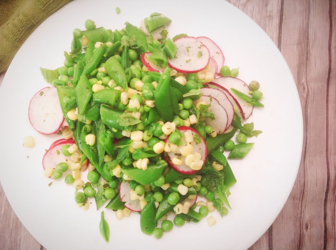 Fresh Snap Pea Salad with Radish, Corn, and Mint - Healthy, Plant-Based, Oil-Free, Gluten-Free, Vegan Recipe from Plants-Rule