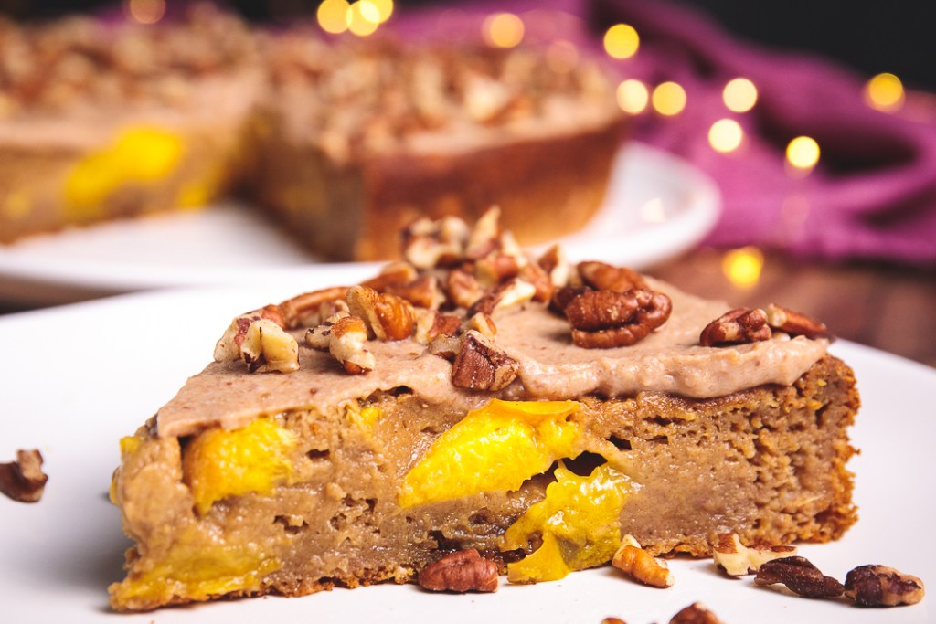 Plant-Based Peach Cake with Vegan Pecan Vanilla Frosting - Healthy, Oil-Free Dessert Recipe from Plants-Rule