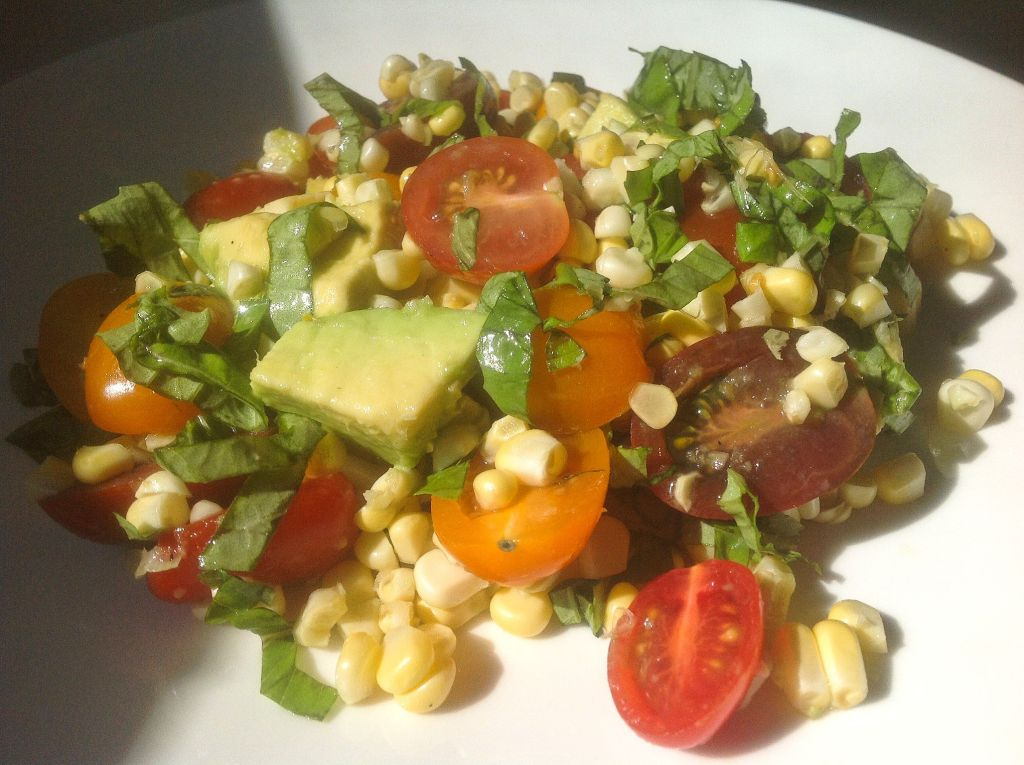 Raw Corn Tomato Basil Salad - Easy, Healthy, Plant-Based, Gluten-Free, Oil-Free Vegan Summer Recipe Plants-Rule