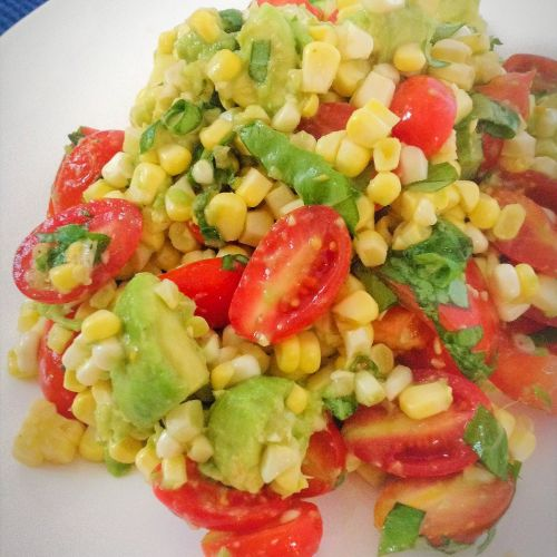 Plants-Rule Raw Corn Tomato Basil Salad - Easy, Healthy, Plant-Based, Gluten-Free, Oil-Free Vegan Summer Recipe