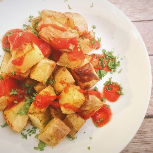 Baked Oil-Free Spanish Spicy Patatas Bravas - Healthy, Fat-Free, Plant-Based Vegan Potato Tapas Recipe from Plants-Rule