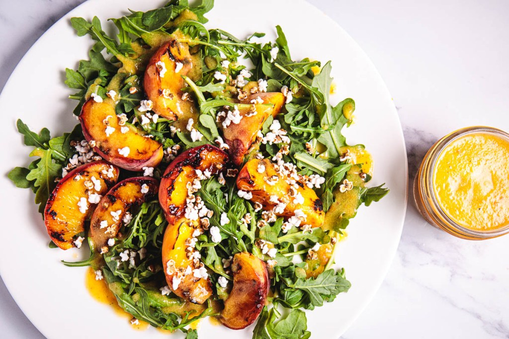 Grilled Peach, Puffed Sorghum Salad with Oil-Free Champagne Peach Dressing - Healthy, Plant-based, Gluten-Free Vegan Summer Recipe from Plants-Rule
