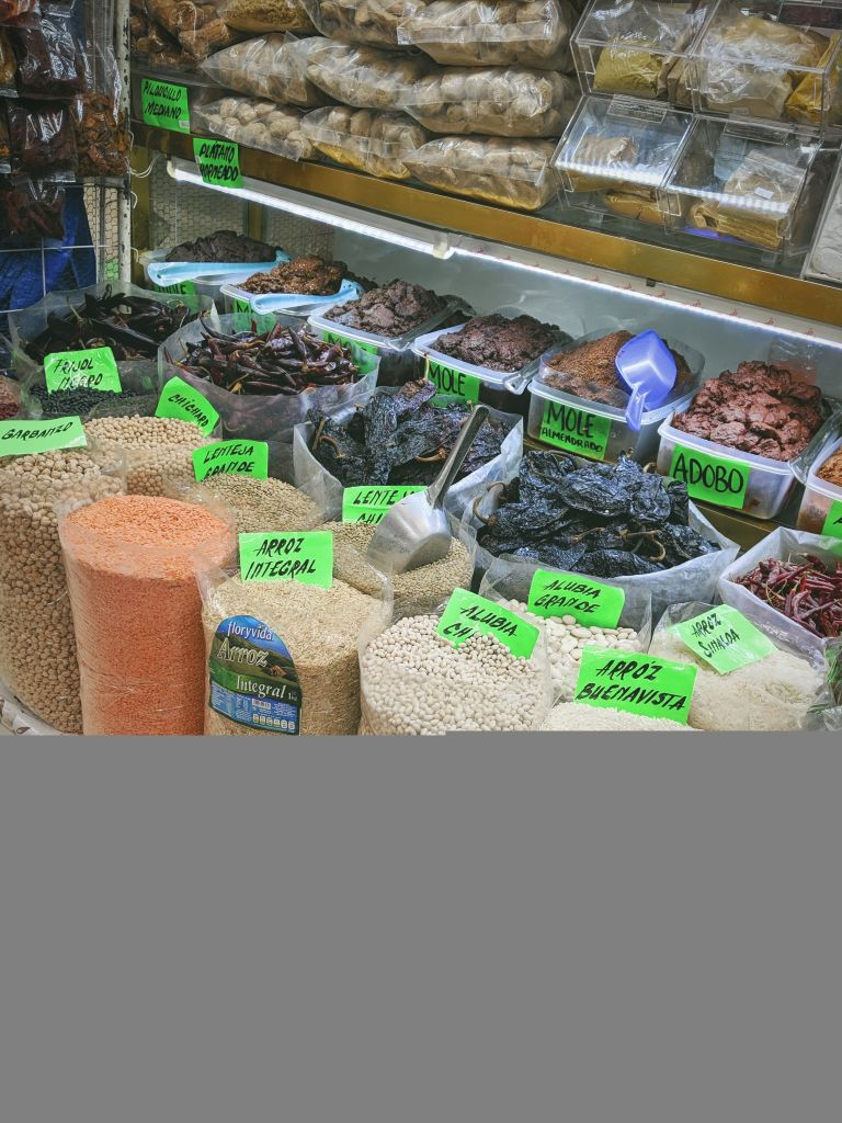 Medellin Market in Mexico City offers a sample of some of the native rices, grains, dried beans, and dried peppers available in the city