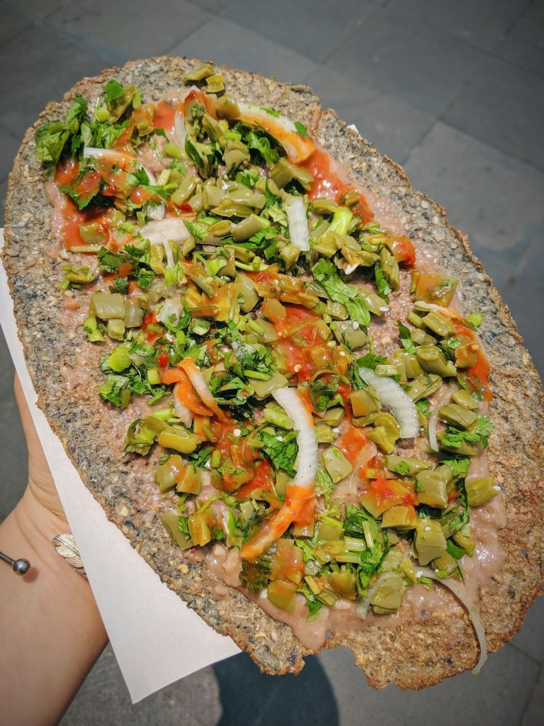 """Vegan Corn Tyluda - a traditional Oaxacan street food sometimes called a """"Mexican Pizza"""""""