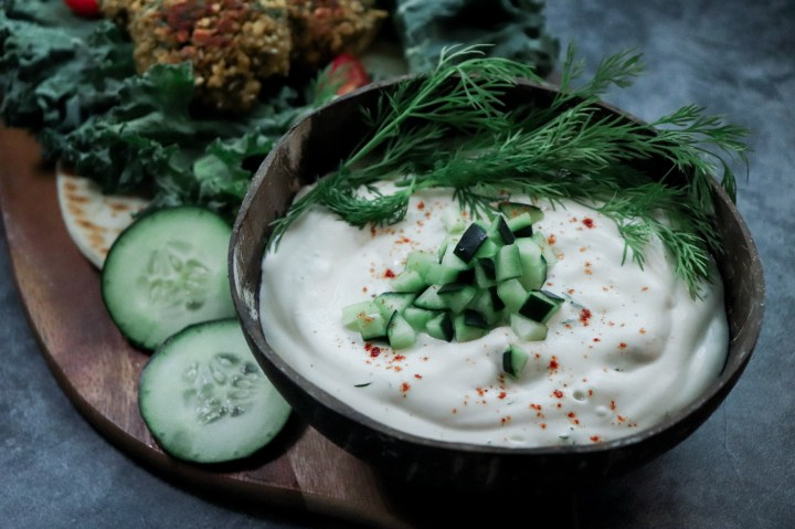 The perfect tzatziki made without tofu or cashews, completely plant-based