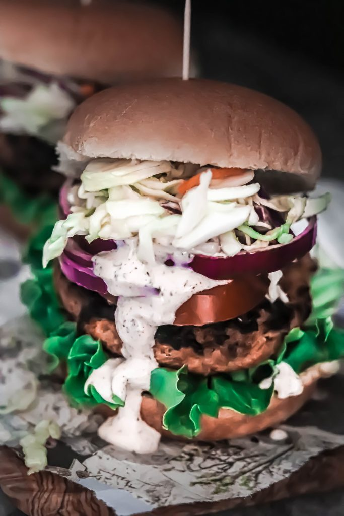 The best spicy, grillable veggie burger with a sweet slaw on a bun.