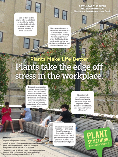 Plants take the edge off stress in the workplace.