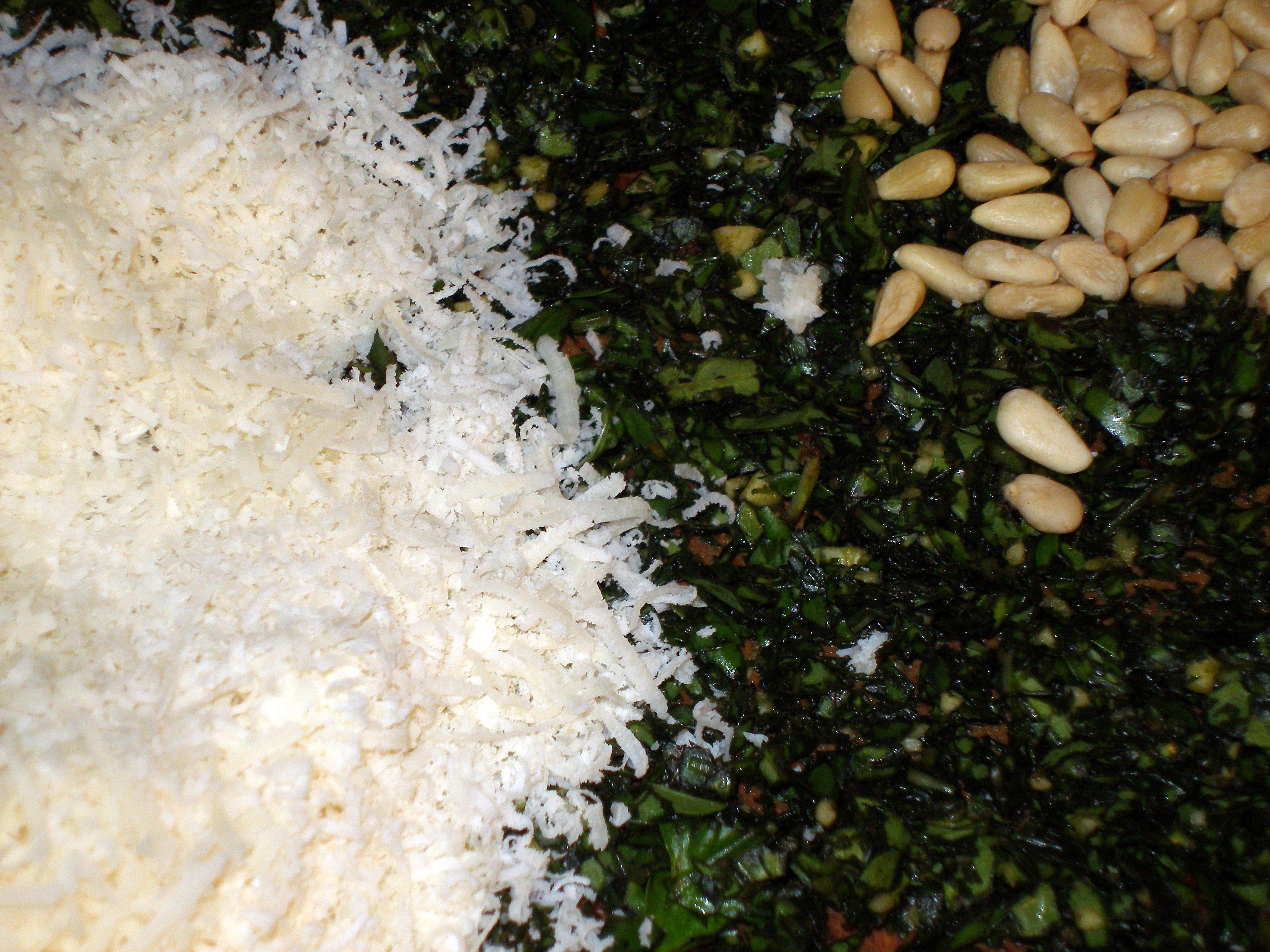 pesto ingredients chopped