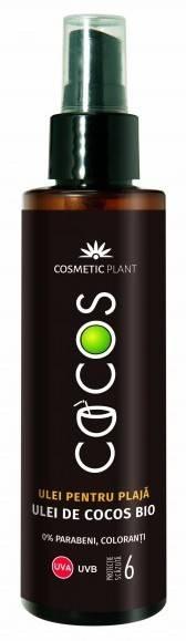 Ulei Spray Pentru Plaja Cocos SPF6 150ML Cosmetic Plant Filtrele organice cu spectru UVA-UVB protejează pielea împotriva radiațiilor ultraviolete ce pot cauza arsuri și îmbătrânirea prematură a pielii. Uleiul de cocos bio, vitamina E și uleiul de măsline bio au efect antioxidant și protector, hidratează și catifelează pielea. Mod de utilizare: Uleiul se pulverizează uniform, din abundență (aproximativ 36 g), pe toată suprafața corpului, cu cel puțin 15 minute înainte de expunerea la soare. Reaplicați frecvent uleiul, mai ales după baie, transpirație sau ștergerea cu prosopul, pentru a restabili nivelul de protecție necesar. Precauții! Reducera cantității de produs aplicat va diminua semnificativ nivelul de protecție al acestuia. Produsele de protecție solară nu vă protejează pielea 100% de radiațiile UV. Expunerea prelungită la soare este periculoasă chiar și atunci, când folosiți produse de protecție solară. Folosiți și protecție vestimentară (pălărie, ochelari de soare, tricou). Nu expuneți direct la soare bebelușii și copiii mici. Evitați expunerea prelungită la soare, în special între orele de maximă intensitate solară (11-16). Evitați contactul cu ochii. În astfel de situații, clătiți imediat cu apă din abundență. Contine Benzophenone-3!
