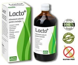 LACTO+ - STIMULENT NATURAL PENTRU LACTATIE Ce este Lacto+? Lacto+ este un produs natural concentrat complex pentru stimularea si prelungirea lactatiei ce se adreseaza mamicilor in perioadele de alaptare, dezvoltand o actiune relaxanta la nivelul musculaturii intestinale a bebelusului, reducand colicile; Lacto+ este un produs natural pe baza de extracte din plante, bogat in vitamine si minerale, surse indispensabile pentru o dezvoltare sanatoasa si armonioasa; Are actiune tonifianta asupra sanilor, prin stimularea fluxului sanguin la nivelul glandelor mamare; Lacto+ creste secretia lactata prin stimularea eliberarii de prolactina cu ajutorul plantelor precum: Anason-stelat, Schinduf si Fenicul-dulce;Actioneaza la nivel gastric si emotional, imbunatatesc procesul digestiv: Musetel, Hamei si Lamaita;Au rol depurativ si remineralizant: Armurariu si Coada-calului.  De ce Lacto+? Cercetarile medicale au demonstrat ca laptele matern favorizeaza cea mai buna aparare impotriva numeroaselor patologii si forme alergice;Laptele matern previne anemia, malnutritia si este usor digerabil pentru sugar;Laptele matern ajuta la dezvoltarea cerebrala si cognitiva;Laptele matern protejeaza bebelusul in primele luni de viata impotriva infectiilor microbiene, virotice si fungice;Laptele matern reduce riscul aparitiei diabetului de tip I si II, a obezitatii si hipercolesterolemiei;Laptele matern contribuie la prevenirea aparitiei alergiilor si a astmului bronsic;Alaptarea ajuta la dezvoltarea muschilor fetei si a dentitiei;Prin alaptare se consolideaza relatia dintre mama si copil. Asadar, de ce Lacto+? - pentru ca este cel mai natural si mai simplu mod de a stimula si prelungi lactatia. - deoarece poate fi consumat in perioadele de alaptare, fara reactii adverse si fara alterarea gustului laptelui. - fiindca intervine atunci cand cantitatea de lapte este insuficienta. - deoarece contribuie la reducerea colicilor bebelusului, asigurand un somn linistit. - pentru ca este obtinut din extract