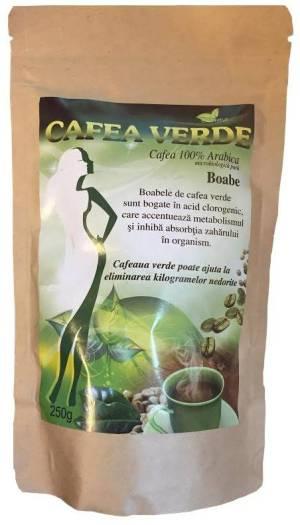 CAFEA VERDE BOABE 250GR contribuie la diminuarea riscului dezvoltarii diabetului Cafea verde boabe neprajita sau procesata se recomanda pentru: Diminuarea riscului dezvoltarii diabetului,Ajuta la buna functionare a ficatului,Imbunatateste sistemul imunitar,Detoxifica organismul,Previne obstructionarea vaselor de sangeDiminueaza aspectul inestetic al celuliteti.Boabele crude de cafea sunt bogate in acid clorogenic, care accelereaza metabolismul si inhiba absorbtia zaharului in organism.Cafeaua verde contine cantitati importante de antioxidanti, care lupta impotriva radicalilor liberi si previn cancerul.Regleaza metabolismul, ajuta la eliminarea kilogramelor nedoriteActioneaza ca un tonic pentru activitatea cerebrala. Mod de preparare: Puneti intr-un ibric 250 ml apa, apoi adaugati 1-2 lingurite de cafea macinata. Aduceti totul la punctul de fierbere, apoi lasati sa fiarba la foc mic timp de 5-10 minte. Daca doriti sa ii imbunatatiti gustul, puteti adauga indulcitor, miere sau sirop de agave. Pentru slabire trebuie sa consumati 2-3 cani pe zi, inainte de cele trei mese principale. Rezultatele nu sunt tipice, pot varia de la individ la individ si pot depinde de stilul de viata al fiecaruia, de starea de sanatate, dar si de alti factori.