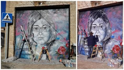 Mural que rinde homenaje a Charo Cordero en Oliva de Plasencia.