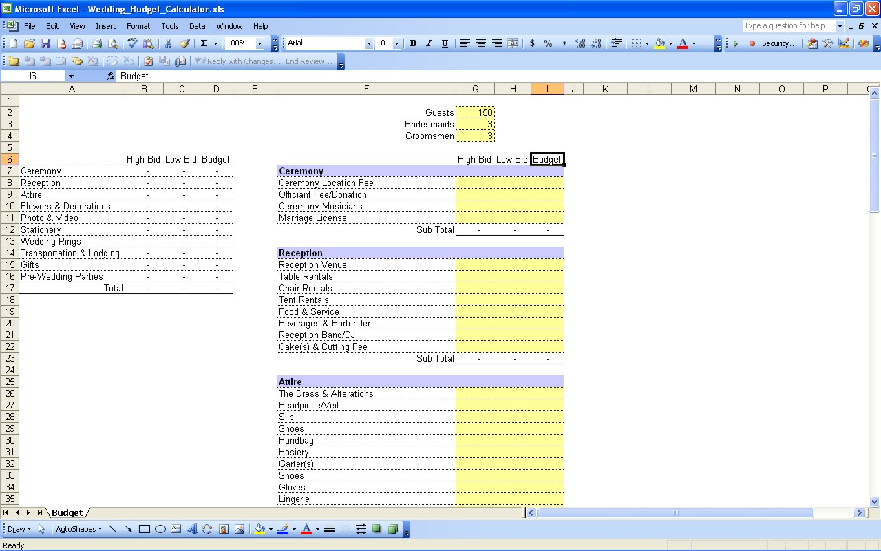 Useful Wedding Spreadsheets